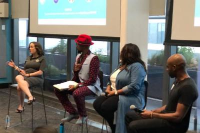 Terri Broussard Williams speaking on a panel